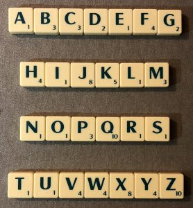 scrabble alphabetically