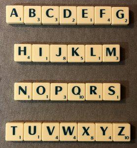 scrabble alphabetically