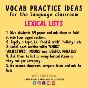 lexical lists vocab practice ideas