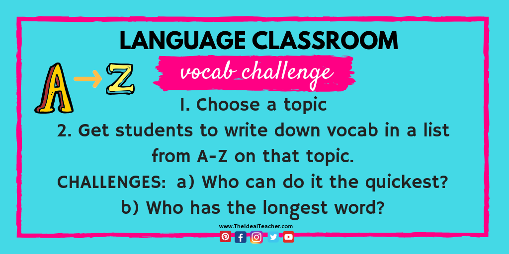 a to z vocabulary starter challenge activity