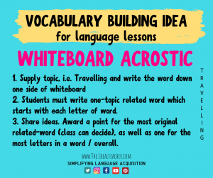 whiteboard acrostic vocabulary practice idea