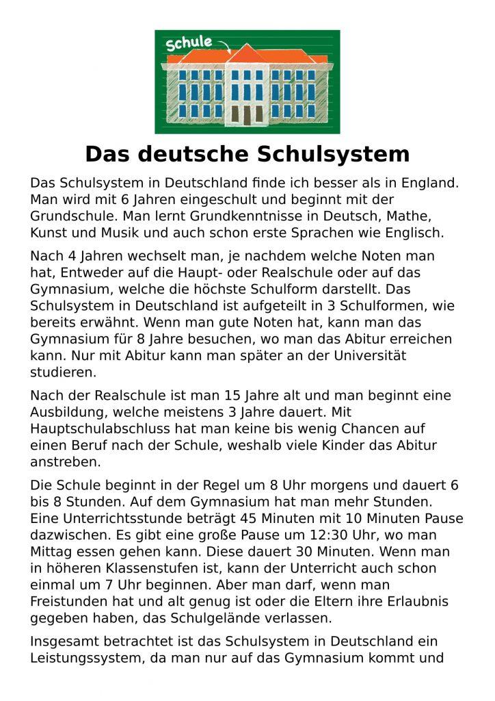 das deutsche Schulsystem listening trancript