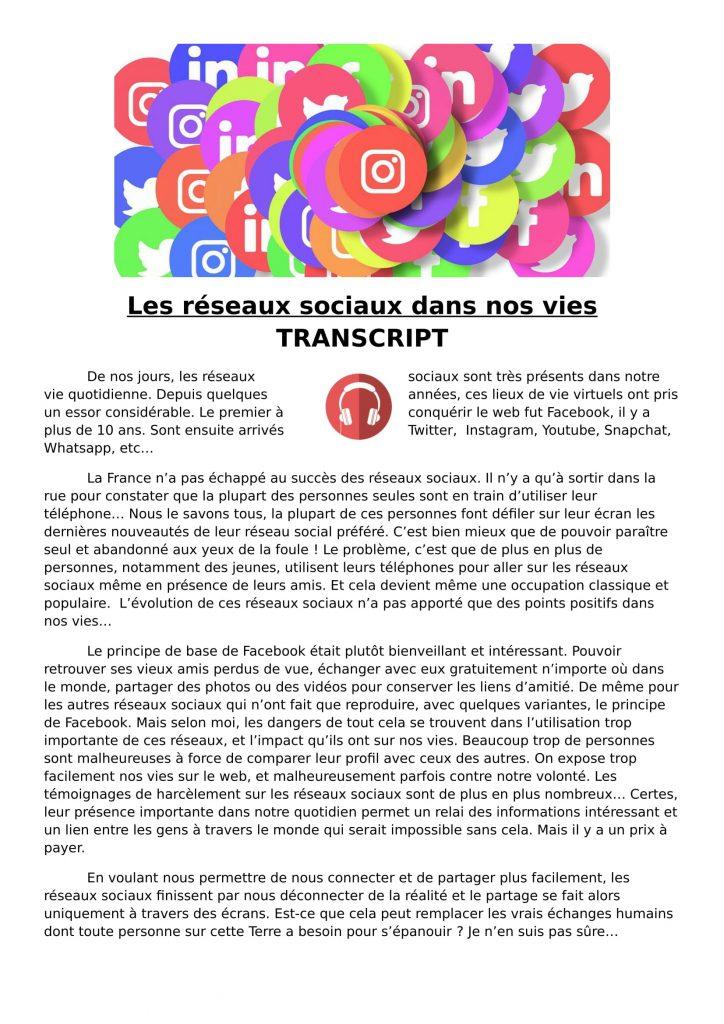 Les réseaux sociaux french listening lesson
