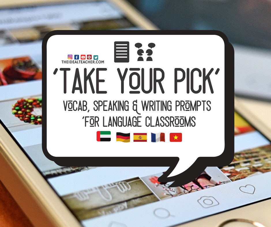 Take Your Pick vocab speaking and writing prompts