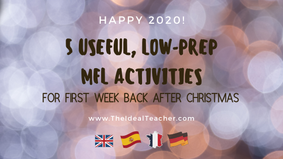 low-prep language activities for first lesson back after Christmas holidays