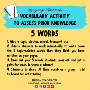 vocabulary to assess prior knowledge - 5 words