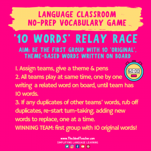 10 words relay race fun vocabulary game for language lessons