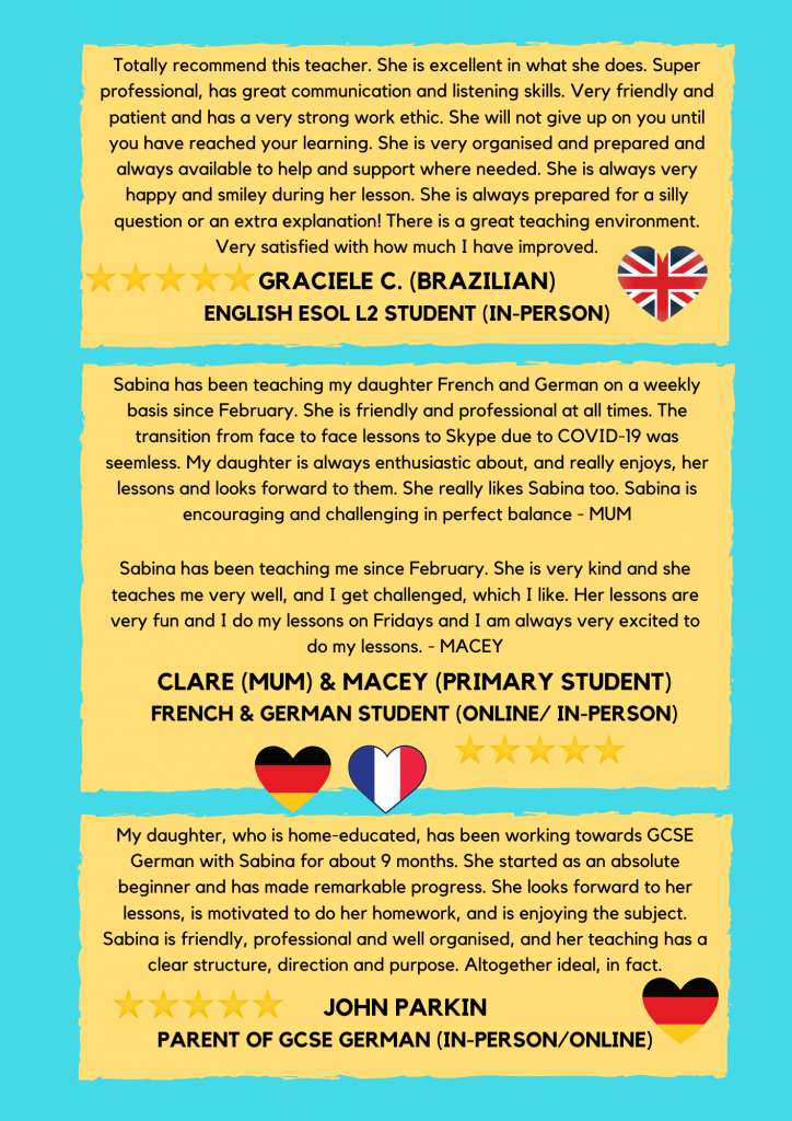 5 Primary French and German Tutor Online