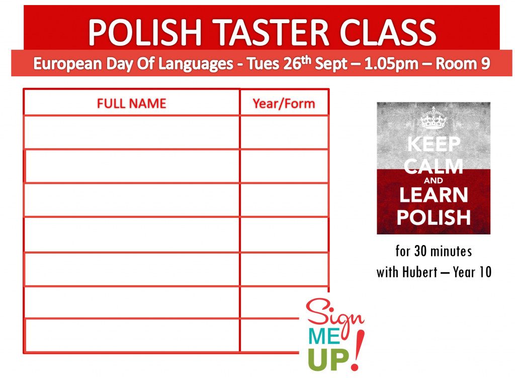 European Day of Languages Language Taster Class Lunch Time Event