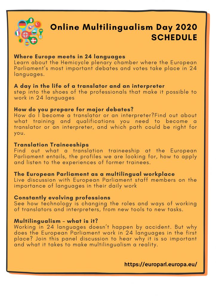 online multilingualism day 2020 Workshops for EDL