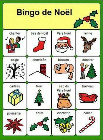 bingo de noel - christmas activity for languages