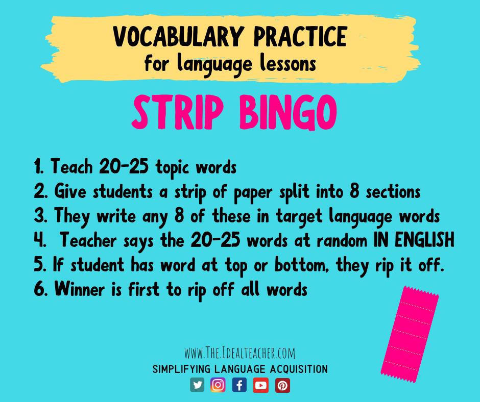 strip bingo Christmas vocab activity ideas